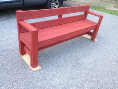 Outdoor bench with color added. I used Ace brand Redwood stain in two coats.