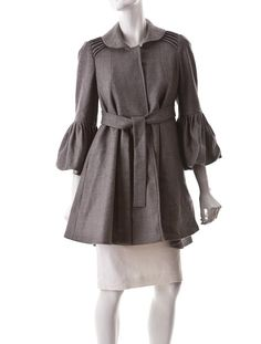 Light Grey Coat with Silk Collar Lining.