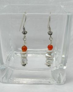 White Freshwater Pearl Earrings, Handmade, Delicate Style, Orange Glass Beads, Casual or Office Wear, Sterling Silver Ear Wires, 1 3/4 Inch by ElysiumUniqueJewelry on Etsy