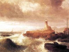 watercolor paintings of lighthouses | Thomas Doughty - Thomas Doughty Desert Rock Lighthouse Painting