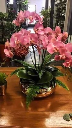 Real Touch Phalaenopsis Orchids & Succulents in Wood Bowl Tropical Flower Arrangements, Orchid Arrangements, Artificial Floral Arrangements, Beautiful Flower Arrangements, Exotic Flowers, Tropical Flowers, Beautiful Flowers, House Plants Decor, Plant Decor