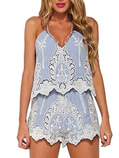 5560893ce01 Blue Embroidery Crochet Detail Strappy Back Romper Playsuit - stayingsummer