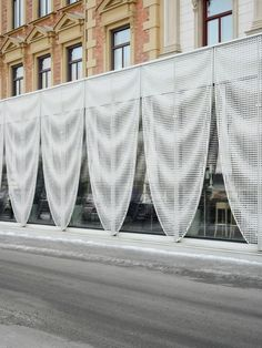 Image 9 of 14 from gallery of Pavilion for Best Western Hotel Baltic / The Common Office. Photograph by Mikael Olsson Perforated Plate, Perforated Metal, Shop Facade, Building Facade, Parametric Architecture, Facade Architecture, Metal Facade, Office Images, Facade Lighting