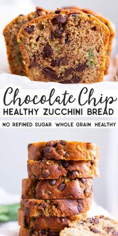 Chocolate Chip Zucchini Bread is an easy breakfast or snack, perfect for a lunch box! Made with wholewheat flour and sweetened with honey, this is a yummy but healthy treat. Adding chocolate chips to zucchini bread makes it so special for the kids. Healthy Chocolate Zucchini Bread, Zucchini Bread Muffins, Easy Zucchini Bread, Chocolate Chip Bread, Healthy Bread Recipes, Healthy Treats, Healthy Baking, Baking Recipes, Dessert Recipes