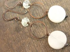 Copper earrings with center circle