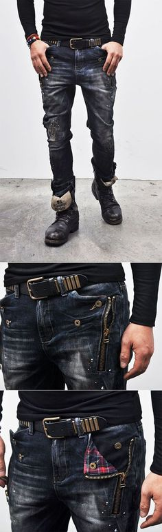 Check Accent Zippered Semi-baggy-Jeans