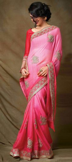 185991: Pink and Majenta color family Embroidered Sarees, Party Wear Sarees with matching unstitched blouse.