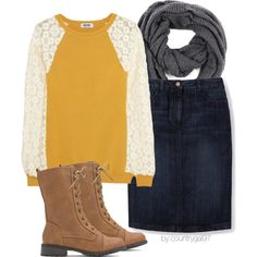 Mustard and Lace. Those shoes aren't my style but I love the rest of the outfit. Perfect for fall.