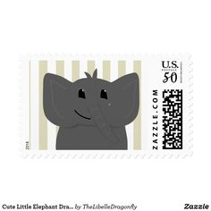 Cute Little Elephant Drawing with Stripes