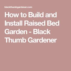 How to Build and Install Raised Bed Garden - Black Thumb Gardener