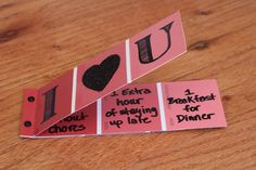 valentines paint chip coupons (these could be made in other colors for other holidays)
