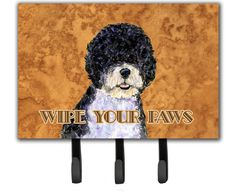 Portuguese Water Dog Wipe Your Paws Leash Holder and Key Hook