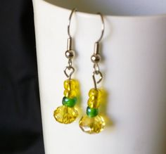 Dainty yellow crystal with glass bead earrings by EllensEclectics, $8.00