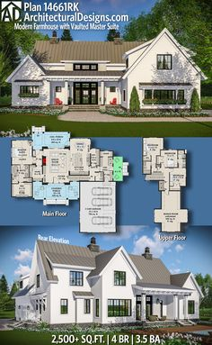 Andrew likes exterior! Architectural Designs Modern Farmhouse Plan 14461RK gives you over 2,500 sq ft of heated living space with 4 beds and 3.5 baths plus a bonus room over the garage adds 430 sq ft.