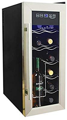 Amazon Com Nutrichef 12 Bottle Thermoelectric Wine Cooler Chiller Counter Top Red An Thermoelectric Wine Cooler Wine Coolers Drinks Stainless Steel Fridge