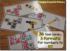 36 - 120 board puzzle task cards for students to practice numbers to 120.