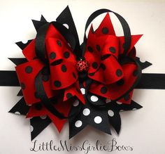 Lady Bug Red and Black Twisted Hair Bow Mounted on an Alligator Clip OR Headband--Made to Your Size Specifications