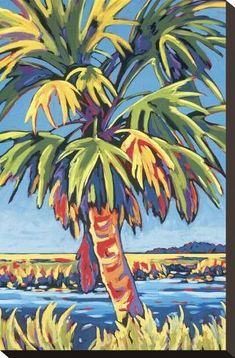 Tangletown Fine Art Pine Island Palm by Sally Evans Fine Art Giclee Print on Gallery Wrap Canvas, 32 Tropical Art, Tropical Paintings, Pastel Paintings, Beach Paintings, Tree Paintings, Tropical Flowers, Landscape Paintings, Pine Island, Outdoor Wall Art