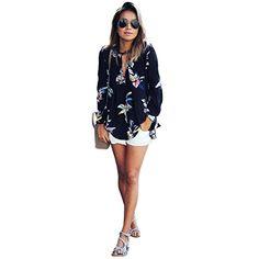 Womens Floral Printing blouse Deep V neck beach shirt Loose Long Sleeve Chiffon Shirt Blouse Top summer clothing Long Sleeve Tops, Long Sleeve Shirts, Beach Shirts, Chiffon Shirt, Print Chiffon, Lady, Shirt Blouses, Party Blouses, Blouses For Women