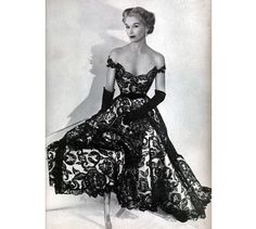 All Sizes Custom Off-shoulder Satin & Lace Gorgeous 1950s Reproduction Dress... Available in Black or White Lace... Gala Dresses, Dress Outfits, Formal Dresses, Gathered Skirt, Special Dresses, How To Look Better, Dress Making, Black Laces, 1950s