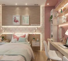 Teen girl bedrooms, check this trick for one surprising sweet teen girl room styling, make-over number 8766011566 Cute Bedroom Ideas, Girl Bedroom Designs, Awesome Bedrooms, Bedroom Themes, Bedroom Decor, Small Room Bedroom, Girls Bedroom, Small Rooms, Teen Bedroom Colors