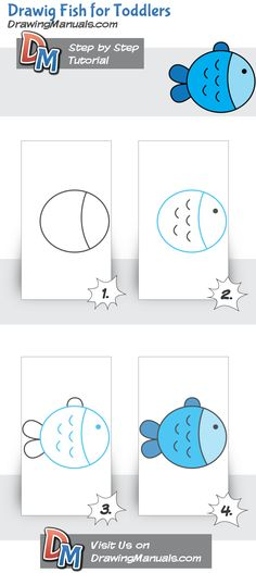 Cute+Fish+for+Toddlers,+Step-by-Step+Drawing