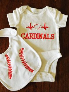 Baby boy baseball onesie and bib- Cardinals Baseball applique-First baseball- Any team name or child's name -For Your Little baseball Fan by DaintyBoTeek on Etsy