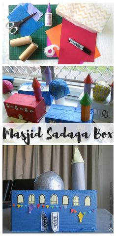 This fun masjid craft will keep kids busy for ages during Ramadan. A great opportunity to talk about the value of giving charity (sadaqa) and helping others. Preschool Crafts, Diy Crafts For Kids, Projects For Kids, Art For Kids, Ramadan Activities, Activities For Kids, Decoraciones Ramadan, Ramadan Cards, Islam For Kids