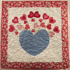 Valentine Wall Hanging Hearts Quilted Basket of Love by kwiltykats