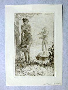 Exlibris für Dr. Willy Kaufmann von Carl Pauer Arlau Österreich Weisskirchen Mähren in der Platte signiert um 1900 Blattgröße: 11,9 cm x 7,2 cm  $12.00