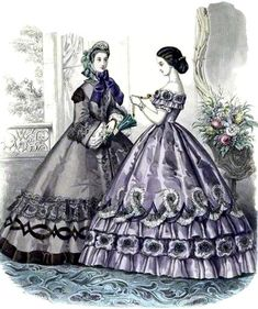 Victorian Era, Victorian Fashion, Vintage Fashion, Historical Costume, Historical Clothing, Ball Dresses, Ball Gowns, Gravure Illustration, Beau Film