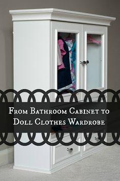 "Bathroom Cabinet 18"" Doll Clothes Wardrobe Storage"
