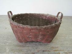 Century Primitive Original Dry Red Paint Little Basket Two Handles and Feet Vintage Baskets, Red Paint, Old West, Primitives, Hand Carved, 19th Century, Carving, The Originals, Antiques
