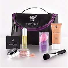 About Face Collection   Uplift Eye Serum, BB Flawless Complexion Enhancer, Set of Blending Buds, Moodstruck Minerals Concealer, Moodstruck Minerals Pressed Blusher, Blusher Brush, Younique makeup bag.    $175