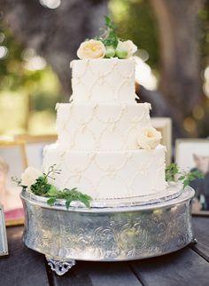 White cake with white detailing | Jose Villa