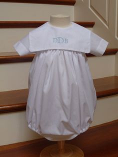 This bubble is size 6 month made in white broadcloth with monogrammed piped square collar. Can be made in other sizes. Buttons in the back and