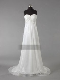 Empire Sweetheart Chiffon Court Train White Draped Beach Wedding Dress