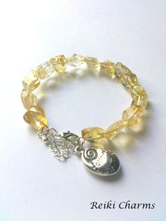 Reiki Charms — Sunny delight Wonderful citrine gemstone memory wire bracelet for solar plexus chakra. Also a colour which is in for this summer!