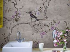 revolutionairy bathroom wallpaper by wall and deco Wallpaper Wall, Chinoiserie Wallpaper, Bathroom Wallpaper, Wallpaper Panels, Contemporary Wallpaper, Contemporary Furniture, Wall Finishes, Diy Décoration, Wall Treatments
