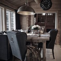 Rustic home office with a suspended stainless steel pendent light fixutre House Design, House, Cozy House, Cottage Inspiration, Cabin Decor, Luxury Cabin, Modern Rustic Design, Cabin Style, Rustic House