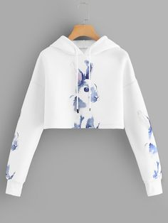 To find out about the Rabbit Print Hooded Sweatshirt at SHEIN, part of our latest Sweatshirts ready to shop online today! Cute Lazy Outfits, Teenage Girl Outfits, Crop Top Outfits, Outfits For Teens, Pretty Outfits, Stylish Outfits, Girls Fashion Clothes, Teen Fashion Outfits, Preteen Fashion