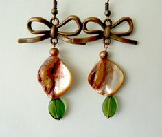 Mother of pearl earrings Summer collection 2015 Old pink pearls Romantic earrings Olivin beads Cooper mother of pearl