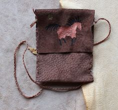 Recycled brown leather necklace pouch with painted by thegreenwolf, $18.00