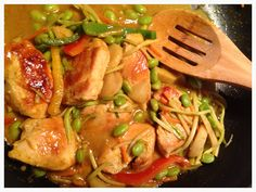 A favorite dish: yellow curry chicken & veggies.  Edamame, water chestnuts, broccoli slaw, bell peppers. Sautée chicken and add yellow curry. I use pre-made yellow curry from Trader Joe's.  also great over whole grains from TJs.