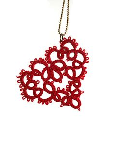 Red Tatted Lace Heart//Heart lace Pendant//Tatted jewelry//Frivolite  Looking for something unique? This is it! Red tatted lace heart made with more