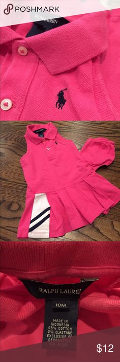 Tennis style Ralph Lauren dress Sporty Ralph Lauren tennis style dress in pink, white and blue.  Size 18 months.  No rips or stains.  Includes matching bloomers. Ralph Lauren Dresses Casual