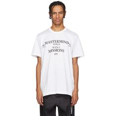 Mastermind Japan Mastermind World White Mission T-shirt Mastermind Japan, Japan Logo, Check Shirt, Printed Cotton, Mens Fashion, Sweatshirts, World, Clothing, Mens Tops