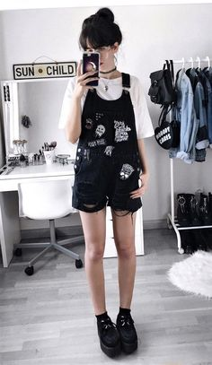 Tattoo choker necklace with white shirt, black denim dungarees & black creeper shoes by deaddsouls