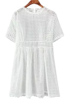 See-Through Lace Short Sleeve Dress