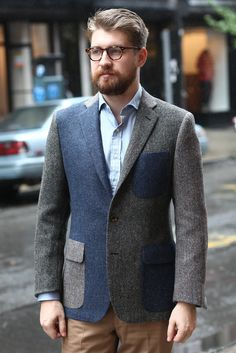 Navy marl, oatmeal herringbone, and a gray-green basket-weave form this patchwork. #style #men #fashion